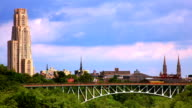 Bridge opposite Pittsburgh University and city - background. Time lapse