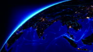 Bright connections moving around Earth. Asia, with city lights.