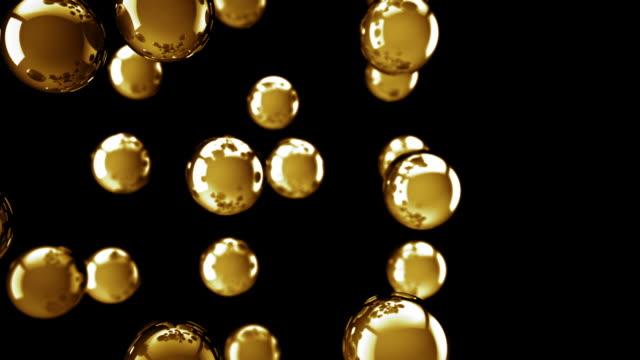 Bright Glossy Balls Loop - Golden (Full HD)
