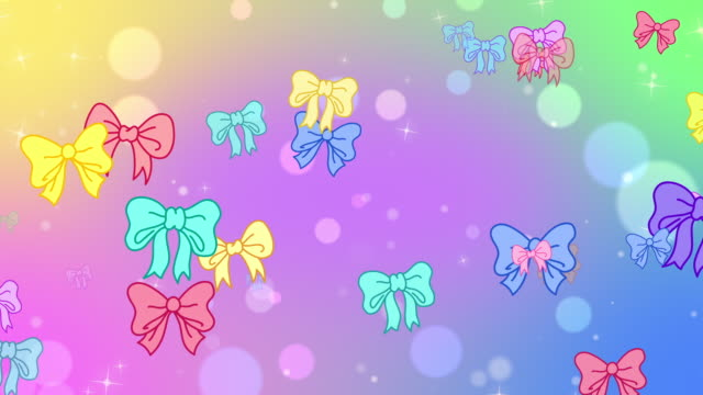 Bright looping cartoon bow bokeh background