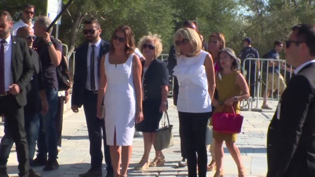 Brigitte Macron the wife of French President Emmanuel Macron visits the Acropolis in Athens with Betty Batziana the wife of Greek Prime Minister...