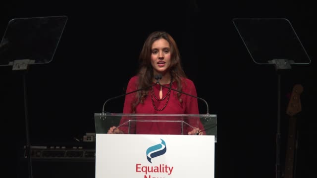 SPEECH Brisa De Angulo gives tips on how to help at 2017 Equality Now Gala at Gotham Hall on October 30 2017 in New York City