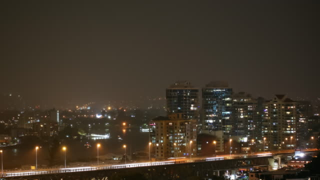 4K Brisbane storm timelapse with traffic at night, Australia
