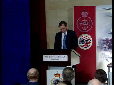 Britain to develop new fighter jet ITN London Ministry of Defence Geoff Hoon MP along stage to speak at press conference Geoff Hoon MP press...