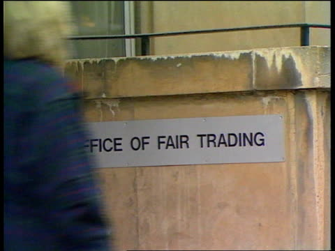 Government investigation into prices LIB London 'Field House' HQ of the Office of Fair Trading ZOOM IN sign LIB Director General John Bridgeman...