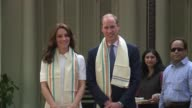 Britains Prince William and wife Kate visit a memorial dedicated to Mahatma Gandhi on their first day in the Indian capital