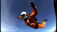 British adventurer to skydive from the edge of space EXT Truglia preparing to jump / Truglia jumping from plane then freefalling and pulling...