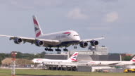 British Airways A380 aircraft lands at Heathrow Airport