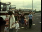 Manchester Airport GV People wait at airport MS PAN cancelled flights on board BV People at counters Video Granada VTR Archive tape 496 V78/5794...