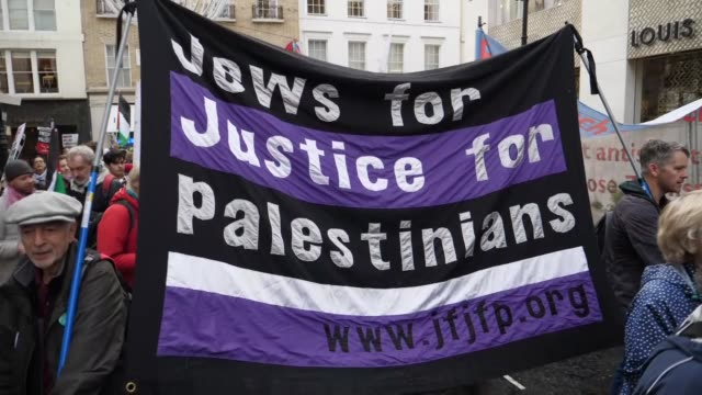 British and Palestinian nongovernmental organizations demonstrate against the Balfour Declaration in London England on November 04 2017 Dozens of...