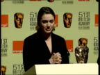 British dominance ITN ENGLAND London Kate Winslet at podium announcing nominees for 51st BAFTA awards SOT GV Audience listening to nominations Kate...
