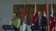 British finance minister Philip Hammond holds a joint press conference with his Indian counterpart Arun Jaitley on the first day of his visit to...