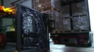 British government criticised for slow response to Hurricane Irma ENGLAND Gloucestershire INT Forklift truck being used to load aid supplies for...