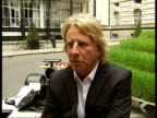 British Grand Prix Damon Hill and Rick Parfitt photocall and interviews Rick Parfitt interview SOT On promotion for British Grand Prix event and...