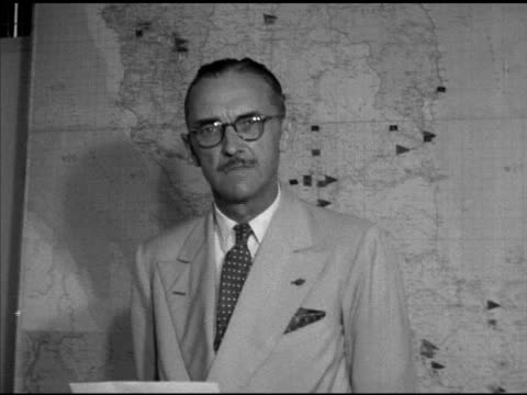 British High Commissioner General Sir Gerald Templer in front of map SOT saying as in Korea Indochina menace of communism has attempted to throttle...