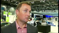 British International Motor Show goes green ENGLAND London Docklands Excel Centre INT Reporter to camera Steve Fowler interview SOT on which car won...