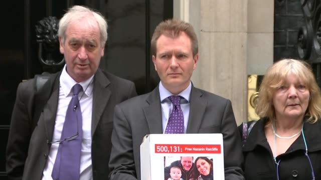 British Iranian woman held in prison close to breaking point T19051617 / 1952016 Various of Richard Ratcliffe and others delivering petition on...