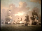 British Marine Exhibition ENGLAND London Sotheby's MS Paintings in exhibition PAN RL to small model of boat MS Portrait of Francis Drake ZOOM IN TCMS...