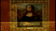 British Mona Lisa painting goes on display Framed potrait of Mona Lisa copy hanging in gallery exhibition DISSOLVE TO Close up of frame of portrait...