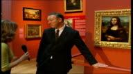 British Mona Lisa painting goes on display Wickham speaking to De Jardin as along to reproduction print of original Mona Lisa SOT