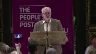 British opposition Labour leader Jeremy Corbyn rails against the governments austerity policies in Manchester breaking convention by appearing on the...
