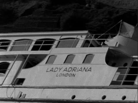 British passenger boat 'Lady Adriana' goes aground GERMANY St Goar EXT Two shots ship 'Lady Adriana' run aground / Name on body on vessel / Lifebelt...