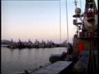 POLITICS/ DEFENCE British pilots stray into Russian airspace EXT Russian Navy ships berthed at naval base Ship docking as mooring rope thrown ashore...