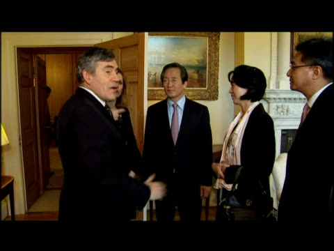 British PM Gordon Brown meets Fifa Vice President Dr Mong Joon Chung at Downing Street about the G20 agenda