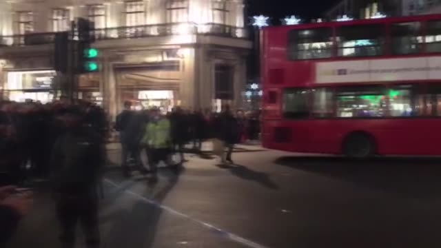 British police cordon off the area after an incident at London's central Oxford Tube Station London United Kingdom on November 24 2017 Police...