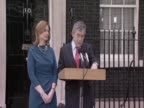 British Prime Minister and leader of the Labour Party Gordon Brown speaks outside 10 Downing Street announces his intention to tender his resignation...
