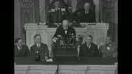 WS British Prime Minister Churchill speaking from rostrum in the US House of Representatives' chamber of the US Capitol Vice President Wallace and...