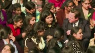 British Prime Minister David Cameron and Bollywood superstar Aamir Khan meet students at a womens college in New Delhi on the premiers three day...