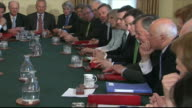 British Prime Minister David Cameron and MP's in government cabinet meeting
