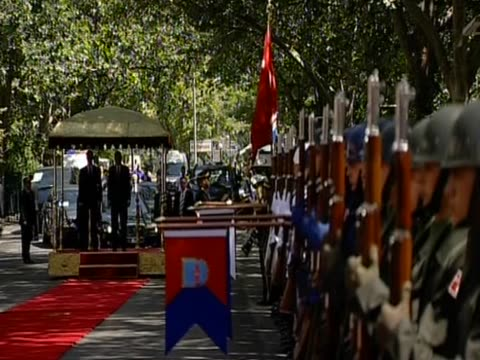 British Prime Minister David Cameron and Turkish Prime Minister Recep Tayyip Erdo_an at guard of honour welcoming ceremony in Ankara during his first...