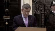British Prime Minister Gordon Brown makes speech at No 10 Downing Street following general election results UK 7 May 2010