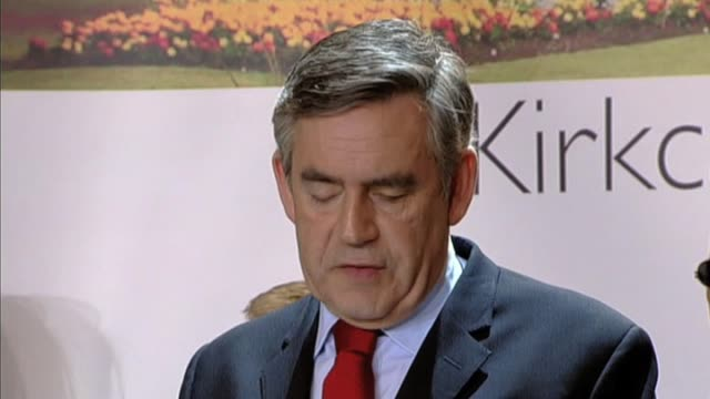 British Prime Minister Gordon Brown makes statement after hearing election results at local constituency Kirkcaldy Scotland 7 May 2010