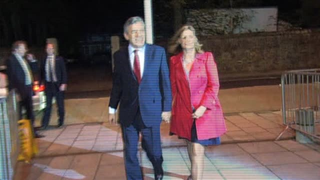 British Prime Minister Gordon Brown with wife Sarah after hearing election results at local constituancy Kirkcaldy 7 May 2010