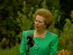 British Prime Minister Magaret Thatcher uses speech to denounce Iraq invasion of Kuwait during vitis to Washington DC