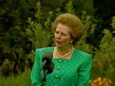 British Prime Minister Magaret Thatcher uses speech to denounce Iraq invasion of Kuwait during vitis to Washington DC