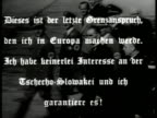 British Prime Minister Neville Chamberlain walking w/ German Nazi Officers German lettering superimposed