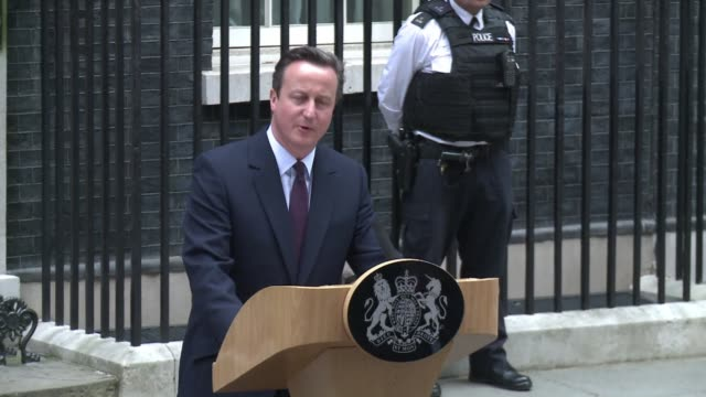 British Prime Minister thanks his former Deputy Prime Minister Nick Clegg as he outlines his intentions to form a majority government