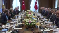 British Prime Minister Theresa May and delegation accompanied her hold a meeting with Turkish President Recep Tayyip Erdogan at the presidential...