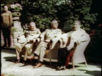 British Prime Minister Winston Churchill US President Harry S Truman and Soviet leader Joseph Stalin attending Potsdam Conference and sitting in...