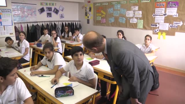 British Prince Edward Earl of Wessex visits Darussafaka Education Institutions in Istanbul Turkey on October 15 2015 Darussafaka Turkey's first...