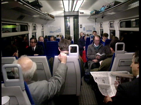 British Rail privatisation plans ENGLAND London GV Chiltern Line train at platform MS Passengers getting on train MS Seated passengers on Chiltern...