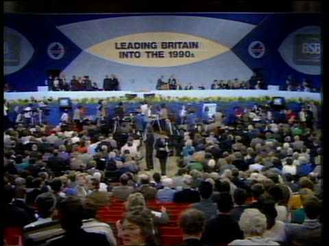 British Rail/British coal privatisation Brighton TGV Conservative Party 1988 Conference in session CMS Cecil Parkinson MP speaking at conference SOF...