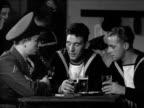 DRAMATIZATION British sailors walking into building w/ sign on column 'Ajax Club' INT Club British sailor talking to American Marine about war...