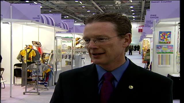 British Toy Fair at ExCel Exhibition Centre Kevin Jones interview SOT