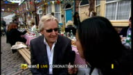 50th anniversary of Coronation Street ENGLAND Manchester EXT Reporter to camera SOT William Roache interview SOT Talks of the plans for the episodes...