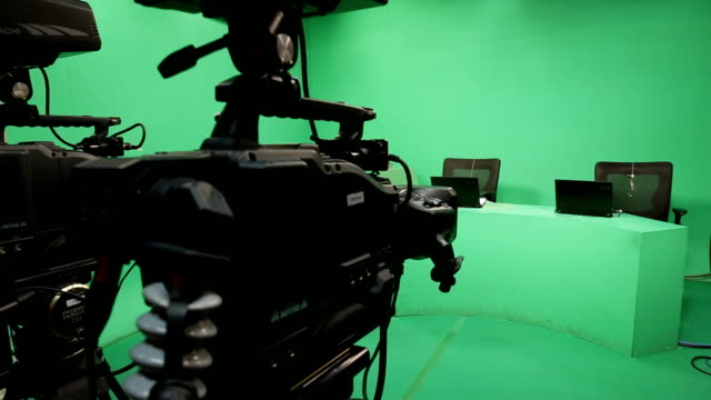 Broadcasting studio green screen